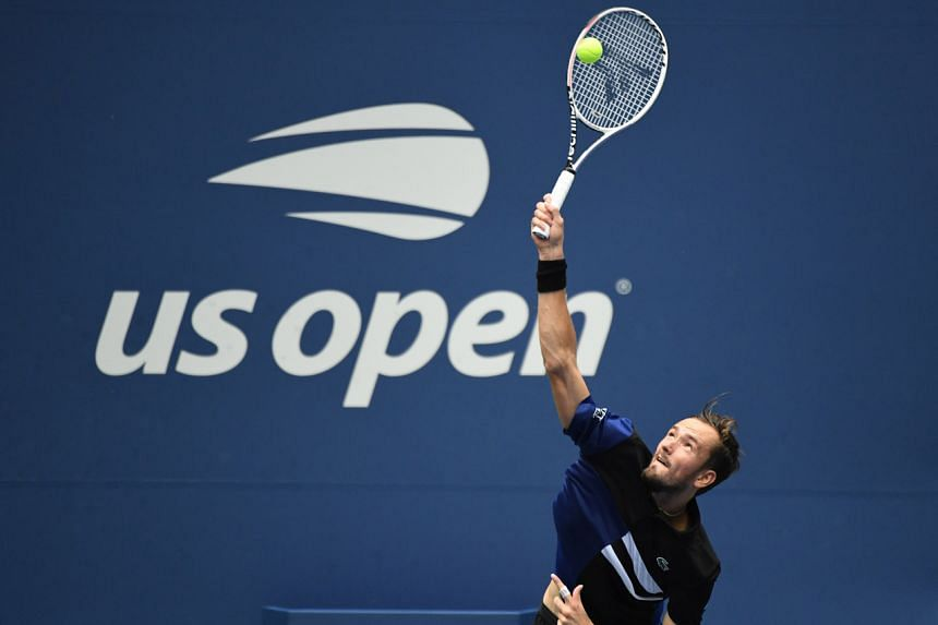 Daniil Medvedev serves against Andrey Rublev in the men's singles quarter-finals match on day nine of the 2020 US Open tennis tournament.