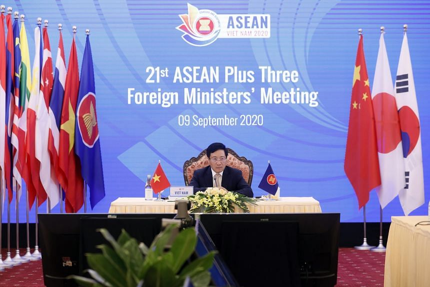 Mr Pham Binh Minh at the 21st Asean Plus Three Foreign Ministers' Meeting, on Sept 9, 2020. Vietnam, the Philippines, Brunei and Malaysia have been locked in territorial disputes with China.