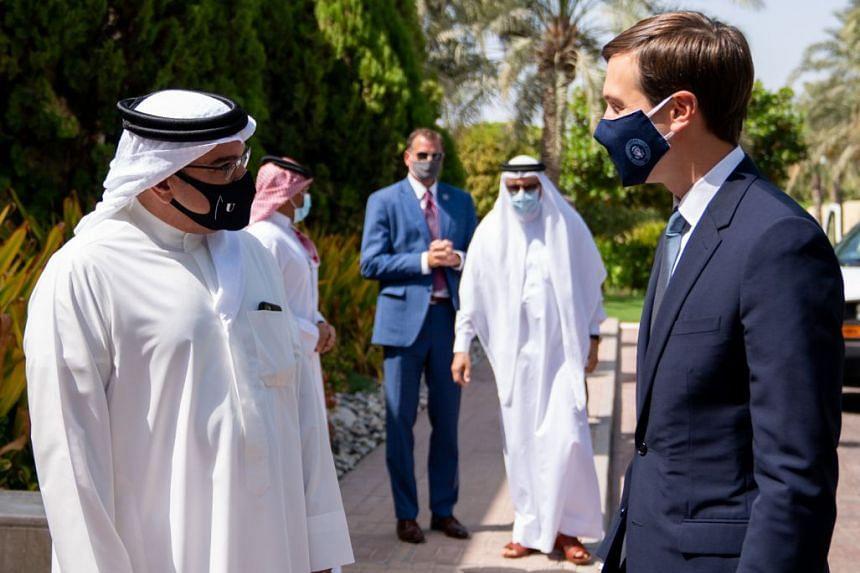 US Presidential Adviser Jared Kushner (right) meeting Bahrain's Crown Prince Salman bin Hamad bin Isa al-Khalifa on Sept 1, 2020.