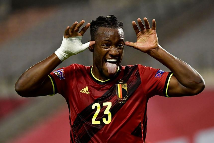 Batshuayi celebrates a Nations League goal for Belgium against Iceland on Sept 8, 2020.