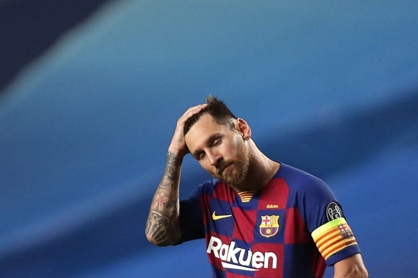 Messi reacts during Barcelona's Champions League match against Bayern Munich in August 2020.