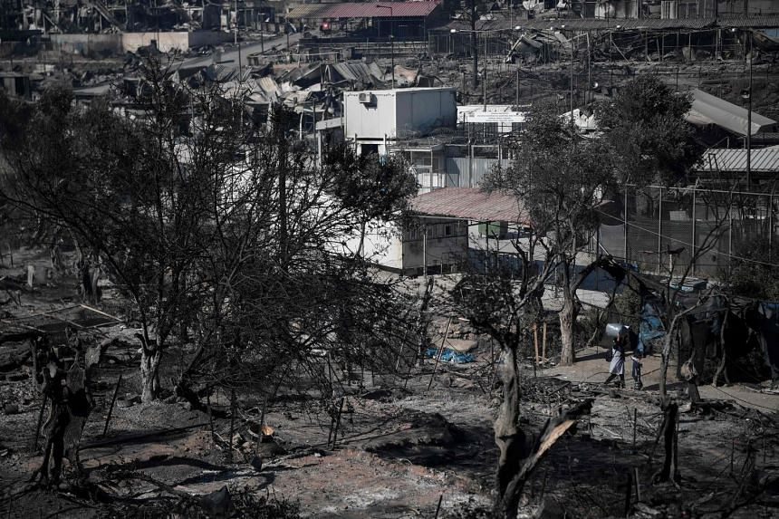 The Moria refugee camp, two days after Greece's biggest and most notorious migrant camp was destroyed by fire.