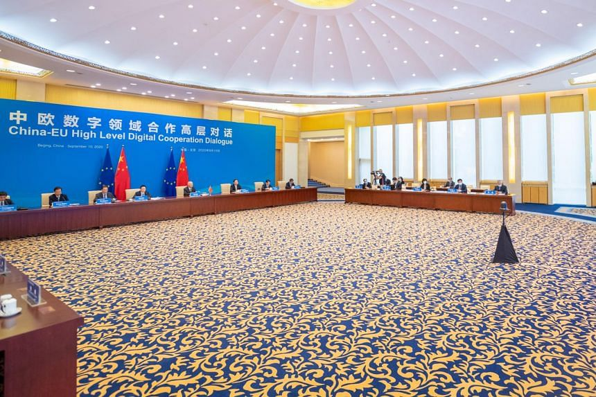Mr Liu He co-chairs a China-EU high-level dialogue via video link with European Commission Executive Vice-President Margrethe Vestager.