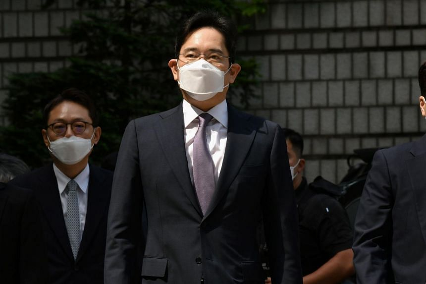Lee Jae-yong arriving for a hearing at a court in Seoul on June 8, 2020. He was indicted on Sept 1 on suspicions of accounting fraud and stock price manipulation.