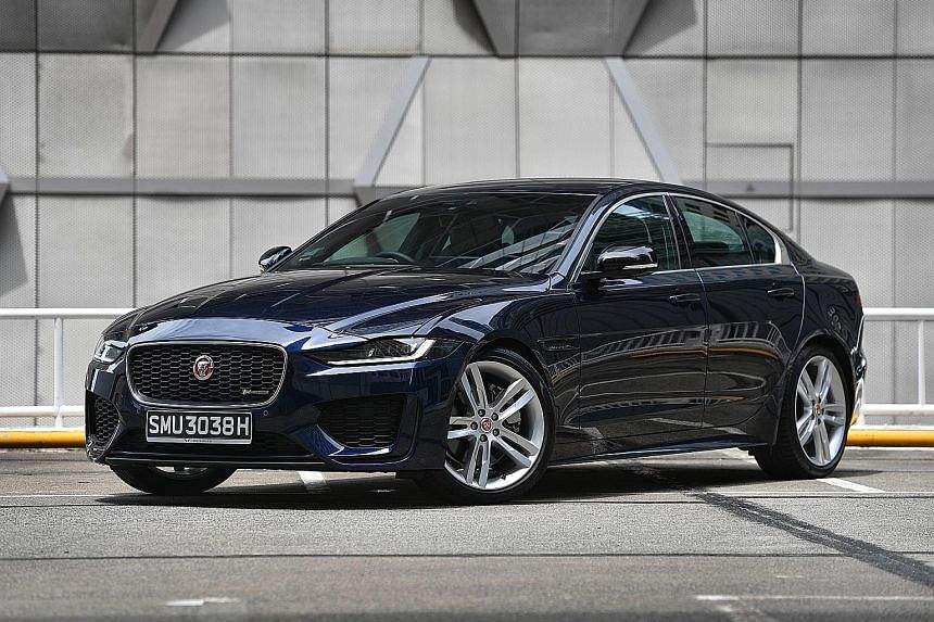 The Jaguar XE has updated its bumpers, headlights, tail lights and rims.