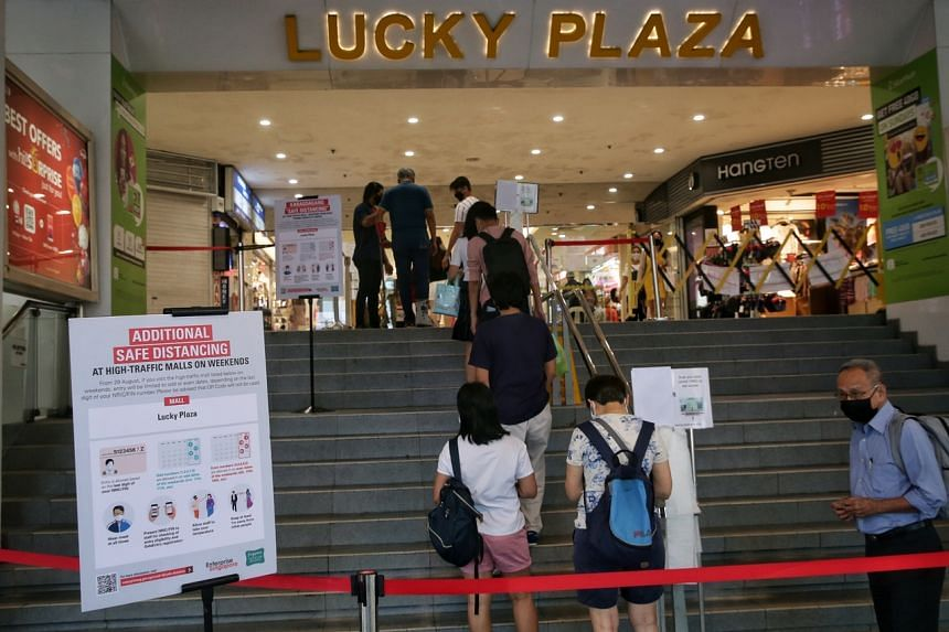 The restriction has dealt a big blow to Lucky Plaza's weekend sales numbers.