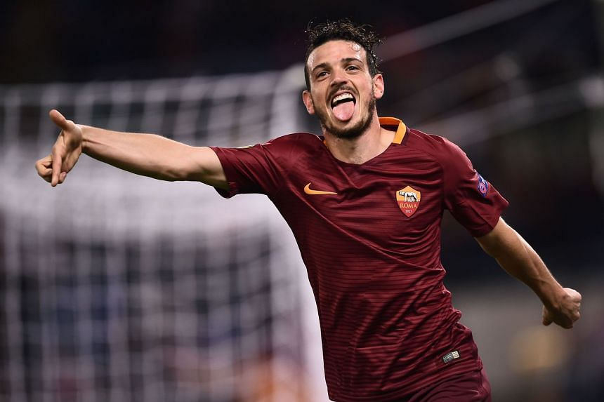 Florenzi celebrates a goal for Roma during a Europa League match against Austria Wien.
