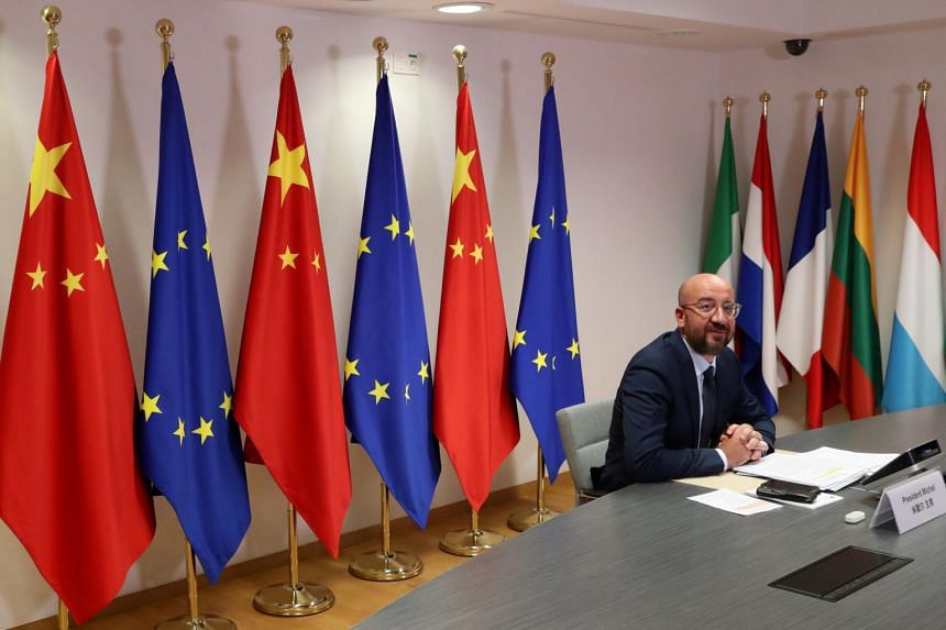 European Council President Charles Michel during a virtual summit with Chinese President Xi Jinping in Brussels, Belgium, on June 22, 2020.