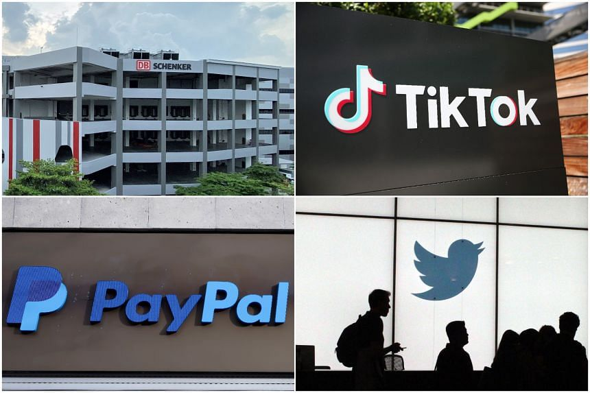 Several companies have announced investments in Singapore this year including (clockwise from top left) DB Schenker, ByteDance, PayPal and Twitter.