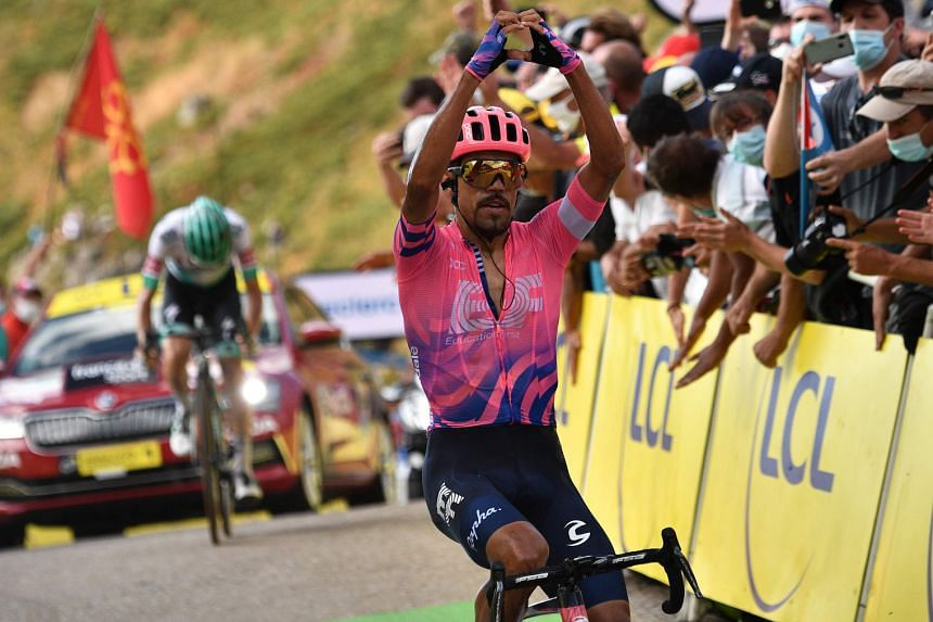 Dani Martinez winning a Tour de France stage for the first time after an intense 13th stage that ended at Puy de Mary.