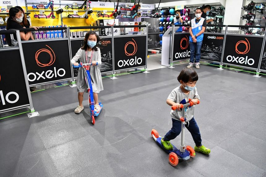 The new store features a test zone where customers can try out the kick scooters.