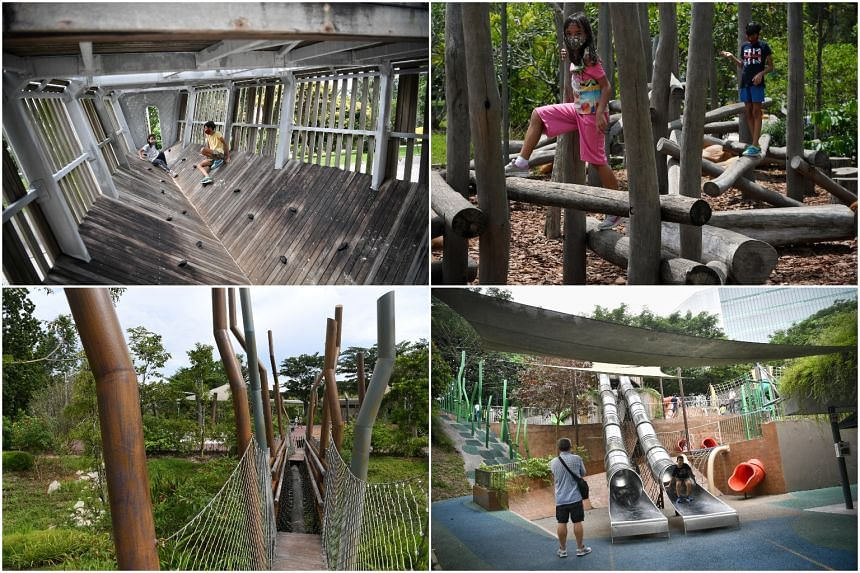 (Clockwise from top left) Sembawang Park Playground, Jubilee Park Playground, Admiralty Park Playground and Forest Ramble Playground.