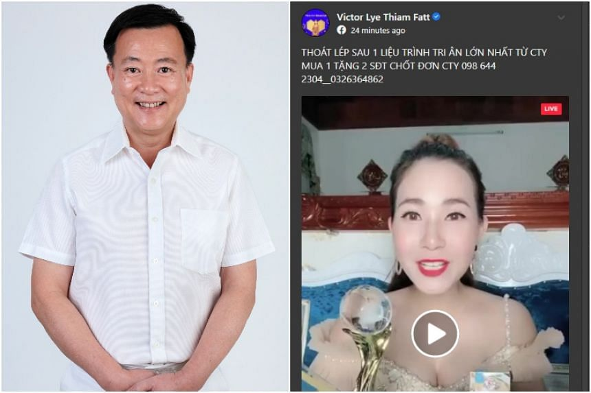 Screenshots showed Facebook posts bearing Vietnamese words and Mr Lye's name above videos of women engaged in online sales of dresses and pans.