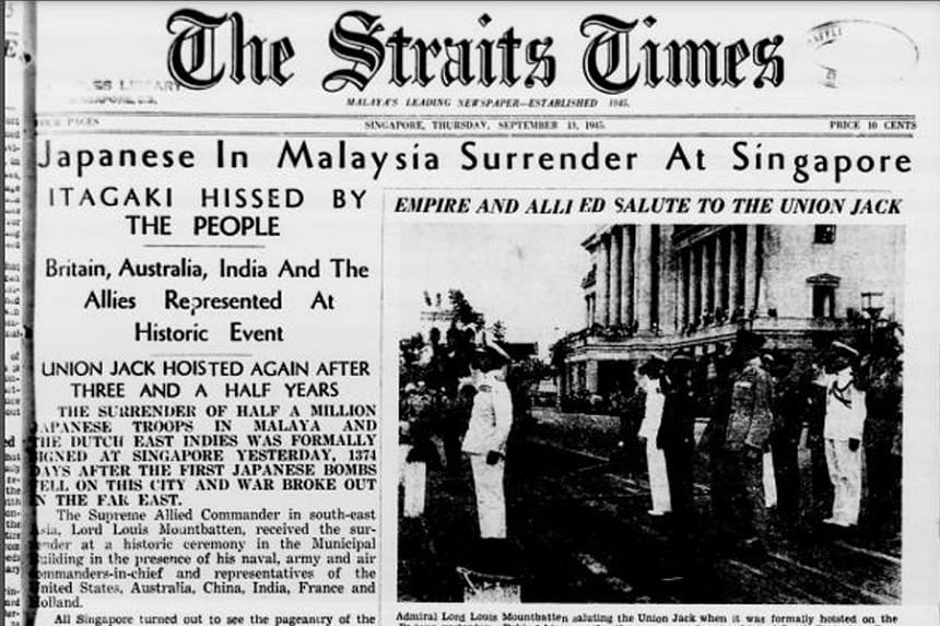 The Straits Times' front-page report on Sept 13, 1945, on General Seishiro Itagaki signing 11 copies of the Instrument of Surrender the previous day, marking the end of nearly four years of the Japanese Occupation of South-east Asia.