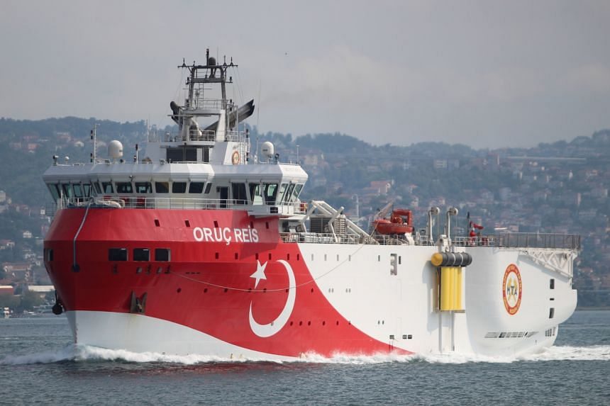 The Turkish research vessel Oruc Reis entered disputed waters around a Greek island while accompanied by a Turkish Navy flotilla, on Aug 10, 2020.