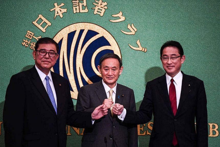 Japan's Liberal Democratic Party's leadership election candidates (from left) Shigeru Ishiba, Yoshihide Suga and Fumio Kishida during a debate in Tokyo on Sept 12, 2020.
