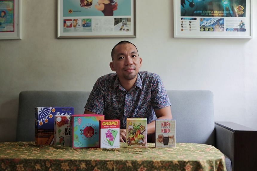 Origame co-founder and Singaporean Daryl Chow and his suite of made-in-Singapore cards at his Gloucester home on Sept 12, 2020.
