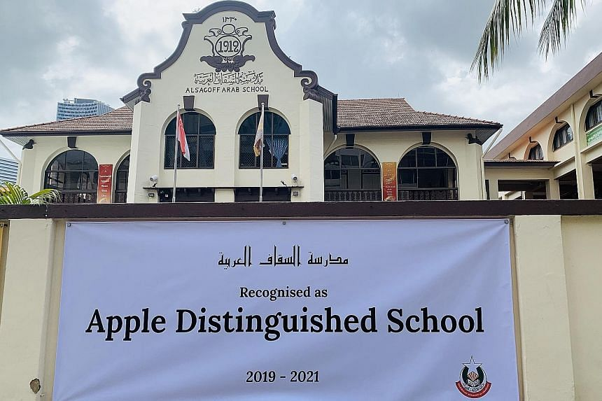 Students at Madrasah Alsagoff Al-Arabiah, which took the bold move four years ago to make basic coding compulsory for all 300 girls enrolled from Primary 1 to Junior College 2. The school (below) is among more than 500 Apple Distinguished Schools tha