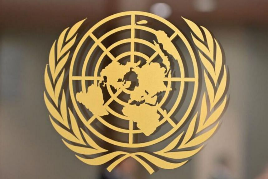 The United Nations logo is seen at the United Nations Headquarters in New York on September 24, 2019.