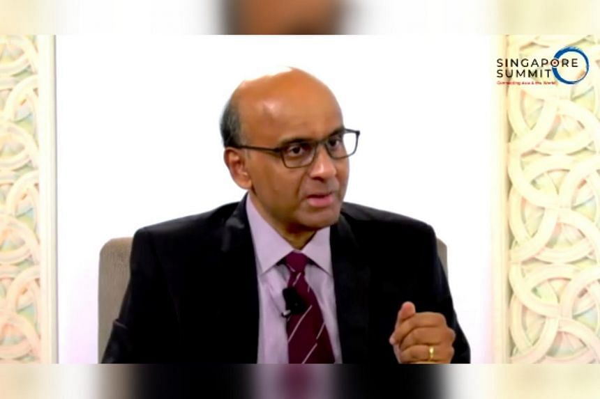 Senior Minister Tharman Shanmugaratnam speaking at a dialogue at the Singapore Summit on Sept 14, 2020.