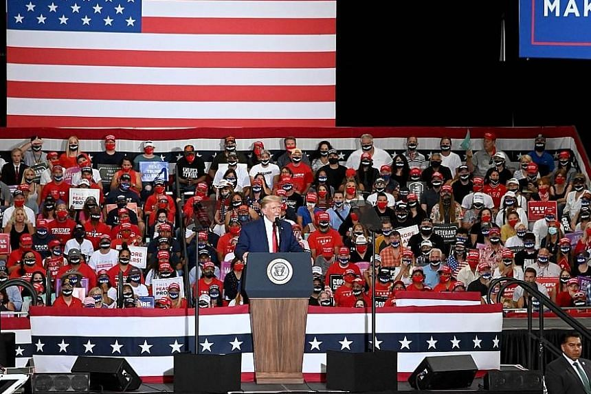 """US President Donald Trump unloaded his regular, inaccurate onslaught against former vice-president Joe Biden at the Nevada rally on Sunday, falsely accusing him of waging a """"dangerous war on the police""""."""