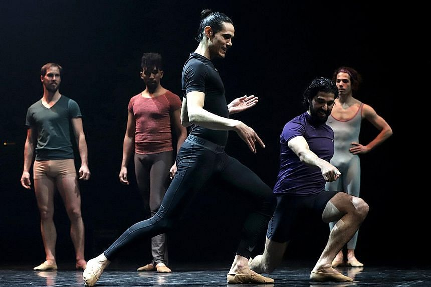 (Left) Uruguayan footballer Edinson Cavani (centre) receiving instructions from professional dancers at the Sodre, Uruguay's National Ballet company. (Left below) Young boys taking part in a ballet class at Uruguay's National School of Dance in Monte