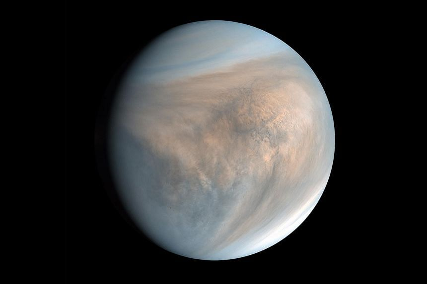 An image of Venus, made with data recorded by Japan's Akatsuki spacecraft in 2016.