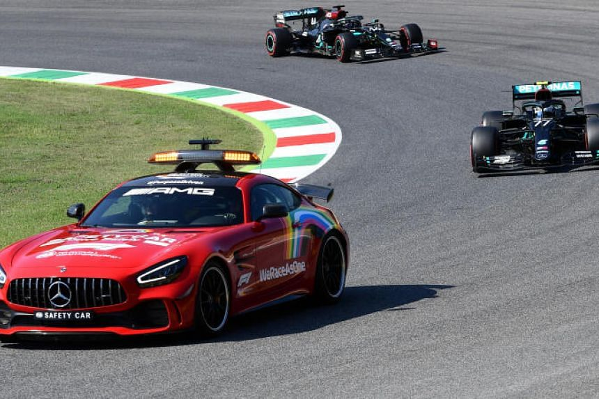 Mercedes' Valtteri Bottas and Lewis Hamilton behind the safety car during the Tuscan Grand Prix race on Sept 13, 2020.