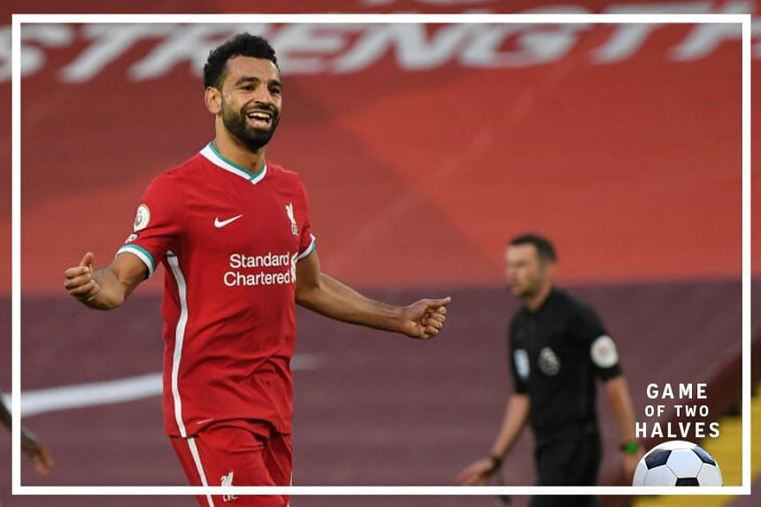 Liverpool's Mohamed Salah celebrates after scoring in Liverpool's 4-3 opening English Premier League win over Leeds United over the weekend.