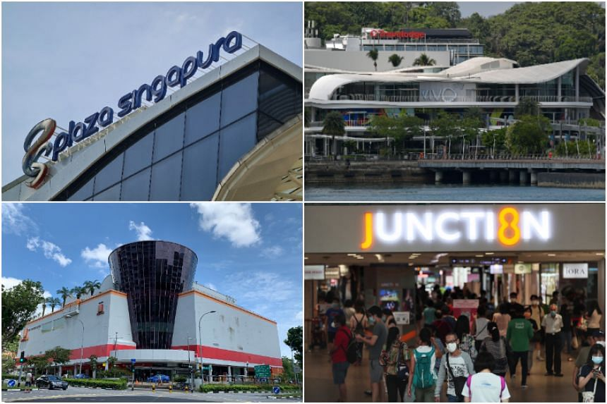 (Clockwise from top left) Plaza Singapura, VivoCity, Junction 8 and Hougang Mall.