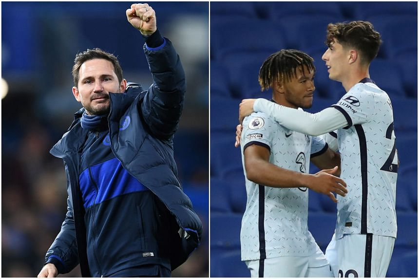 (From left) Chelsea manager Frank Lampard heaped praise on his players Reece James and Kai Havertz after a 3-1 win on Sept 14, 2020.