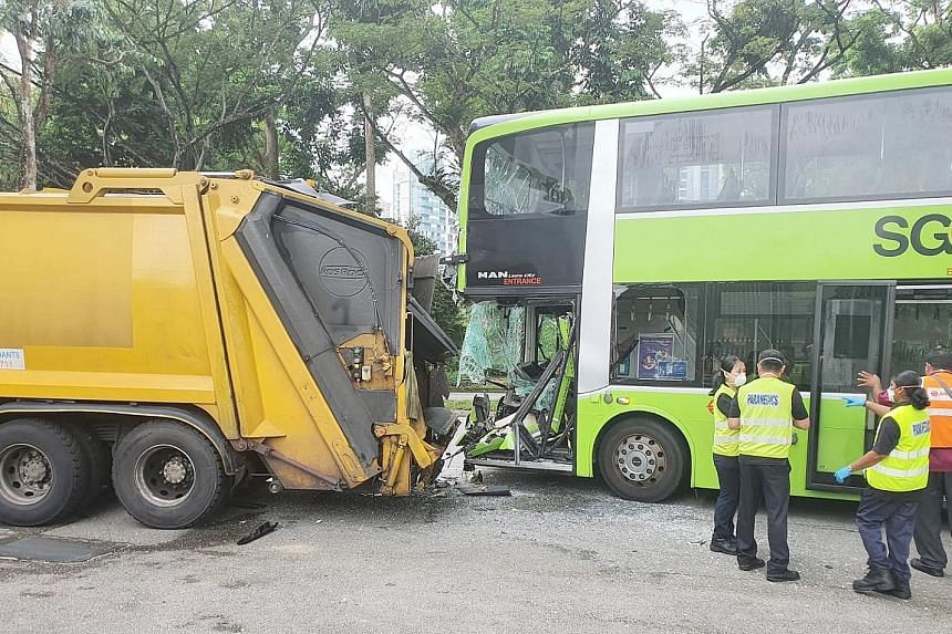 Five people were taken to hospital after an SMRT service 169 bus and a garbage truck were involved in an accident in Ang Mo Kio yesterday. The 39-year-old male bus driver and four bus passengers aged between 25 and 64 were all conscious when taken to