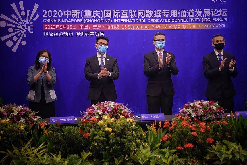 (From left) Infocomm Media Development Authority (IMDA) director of international platforms and partnerships Samantha Fok, SGTech chairman Wong Wai Meng, IMDA chief executive Lew Chuen Hong and IMDA assistant chief executive of technology and infrast