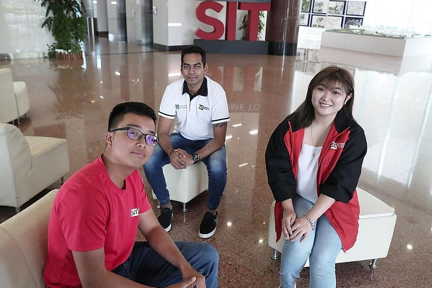 (From far left) Singapore Institute of Technology students Nur Syazwan Syamsuddin, Sathiya Soorian and Vanessa Chia received help from their school's student relief fund. Nearly $1.5 million has been raised for the fund through donations. ST PHOTO: K