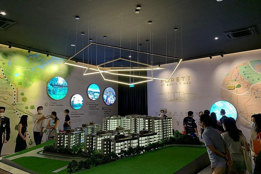 Potential home buyers visiting the sales gallery of new launch Forett At Bukit Timah in July. The freehold development in Toh Tuck Road, which offered a price point of $1,933 psf, sold 213 units, or 34 per cent of its 633 units, in the first month of