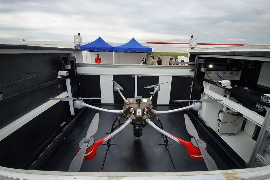 The unmanned drone took off from Tuas View Fire Station, with the flight lasting 20 minutes over 8km.
