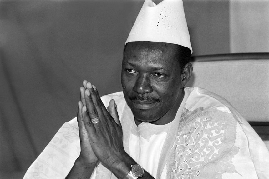 A 1985 photo shows Malian president Moussa Traore delivering his New Year wishes speech in Bamako.