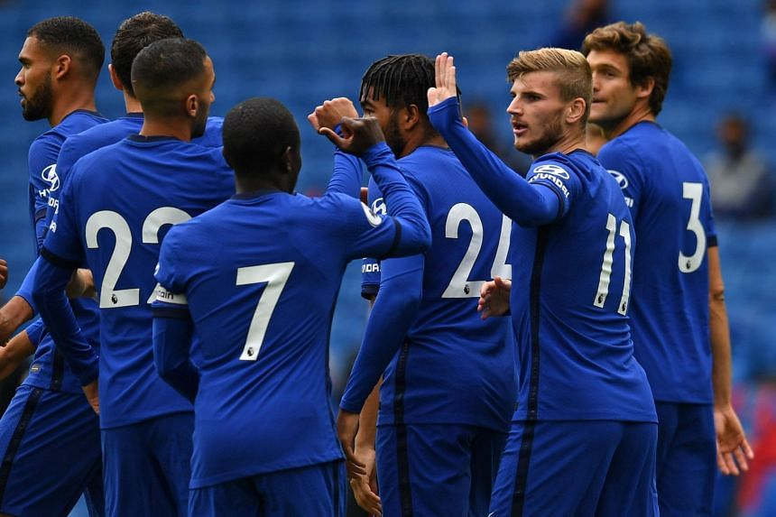 Timo Werner (second right) celebrates with teammates after scoring the opening goal of a pre-season friendly against Brighton and Hove Albion.