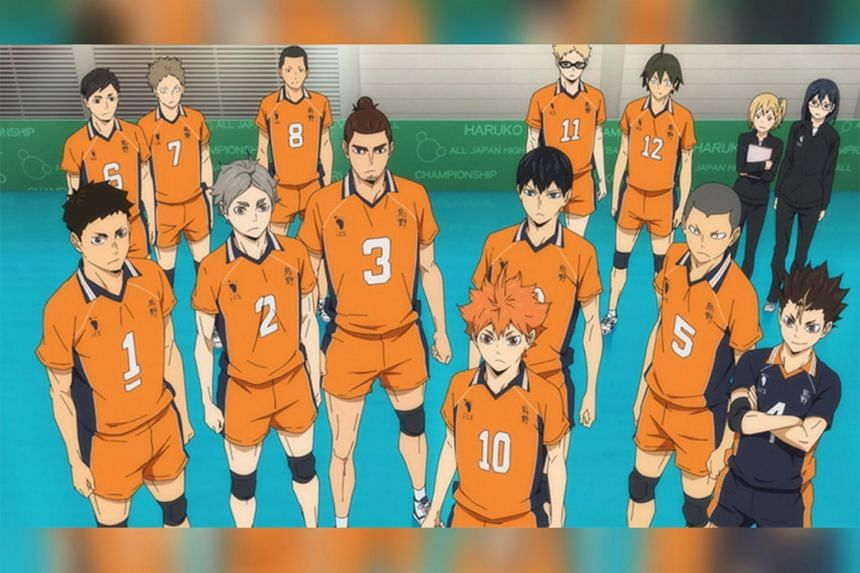 The Karasuno High School volleyball team in Haikyu!! To The Top.