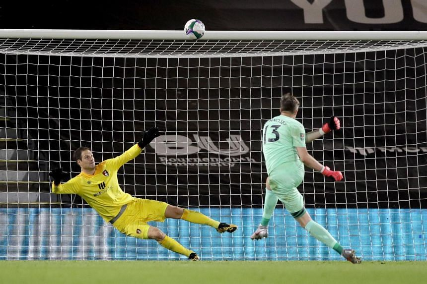 Wayne Hennessey misses a penalty during the English Carabao Cup match between Bournemouth and Crystal Palace.