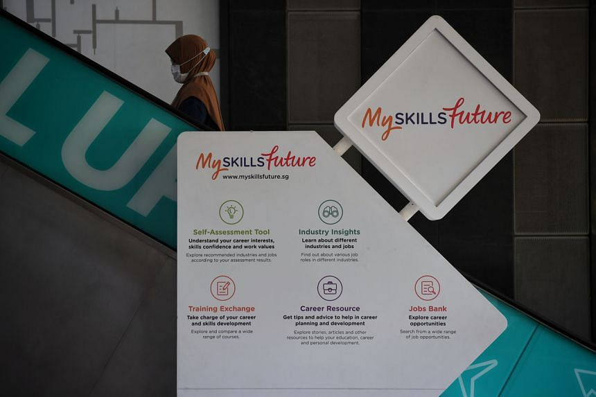 SkillsFuture signage on an escalator at the Lifelong Learning Institute on July 17, 2020.