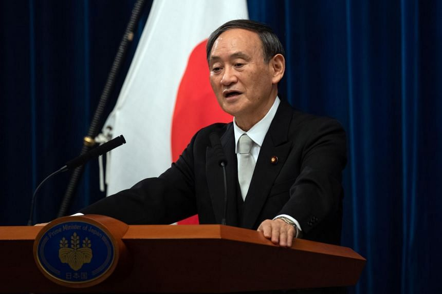 New Japanese PM Yoshihide Suga speaking following his confirmation as prime minister, in Tokyo on Sept 16, 2020.