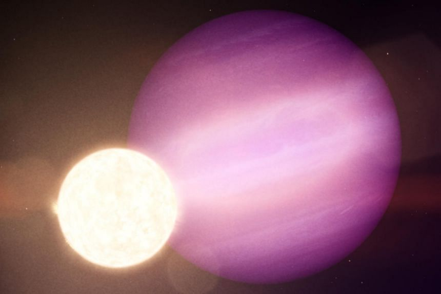 In this handout illustration, WD 1856 b, a potential Jupiter-size planet, orbits its much smaller host star, a dim white dwarf.