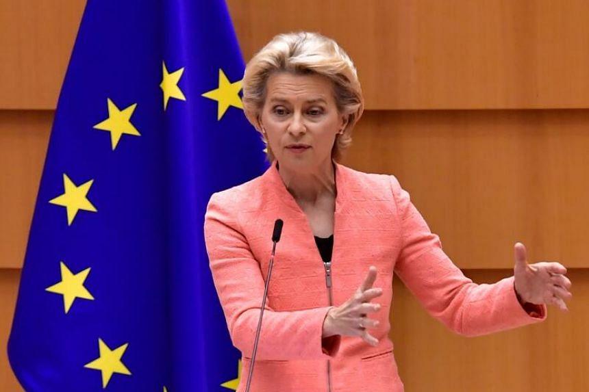 Ms Ursula Von der Leyen addresses her first state of the union speech in Brussels on Sept 16, 2020.