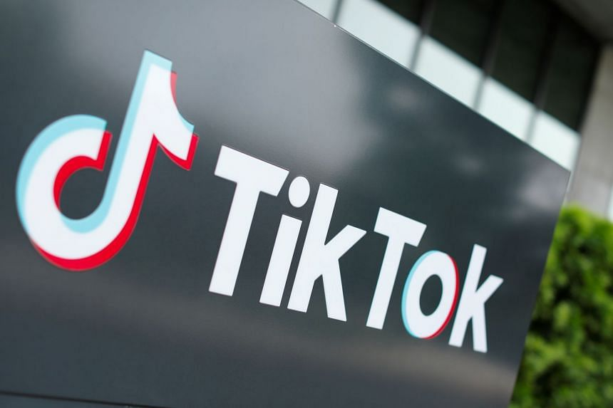 TikTok's logo is pictured outside the company's US head office in Culver City, California.