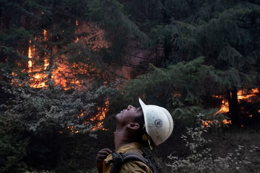 Johnny Islas, a firefighter from Las Vegas, monitors ambers from a firing operation near the Obenchain Fire in Butte Falls, Oregon.