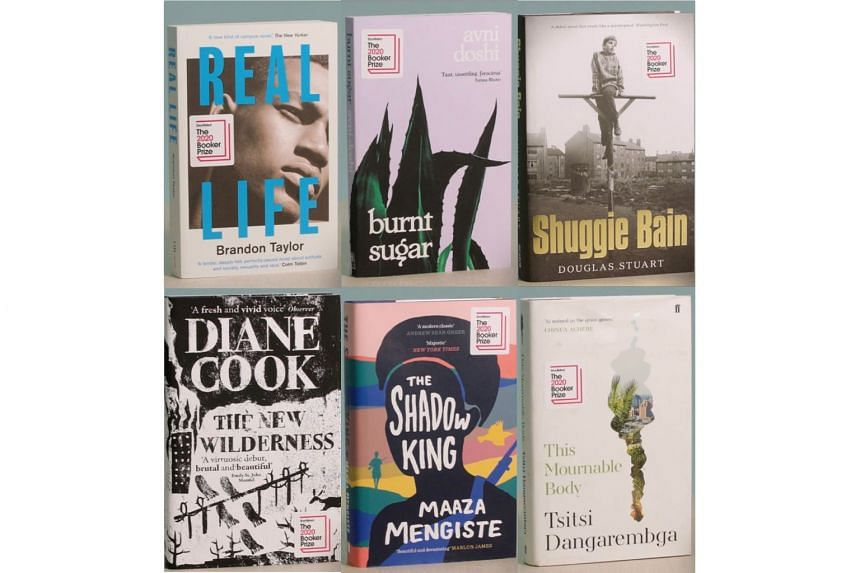 (Above) The six titles in this year's shortlist. Four of them are by women, including Tsitsi Dangarembga, who is perhaps the best known name on the list because of her political struggles in Zimbabwe.