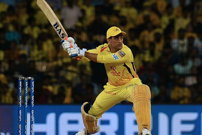 Mahendra Singh Dhoni plays a shot at the 2019 Indian Premier League Twenty20 cricket match at the M.A. Chidambaram Stadium in Chennai.
