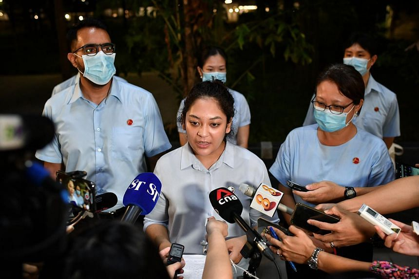 """Ms Raeesah Khan speaking to members of the media on July 6, 2020, after police reports were made against her. Ms Raeesah said that her intention was """"never to cause social unrest or division""""."""