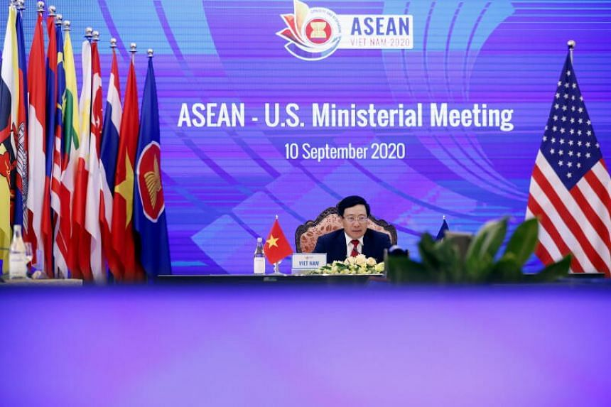 Vietnam's Foreign Minister Pham Binh Minh addresses the virtual Association of Southeast Asian Nations (Asean) - US Ministerial Meeting in Hanoi, Vietnam, 10 September 2020. The 53rd Asean Foreign Ministers' Meeting and Related Meetings (AMM 53) was